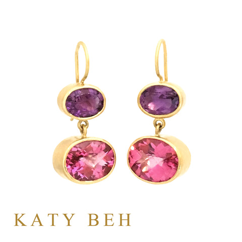 Custom Amethyst Pink Topaz 22k Gold Earrings Katy Beh Jewelry New Orleans