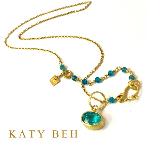 Custom Apatite Pendant 22k Gold Chain Necklace Katy Beh Jewelry New Orleans