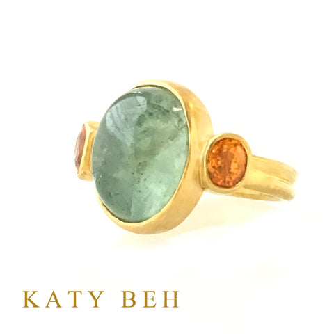 Custom Aquamarine Mandarin Garnet 22k Gold Ring Katy Beh Jewelry New Orleans