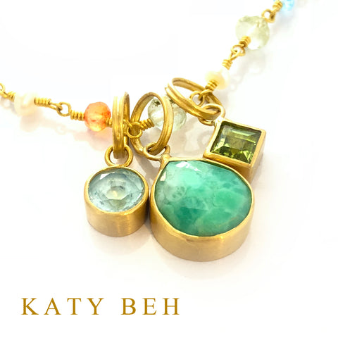 Custom Blue Topaz Chrysoprase Peridot Pendant 22k Gold Necklace Mother's Katy Beh Jewelry New Orleans 4