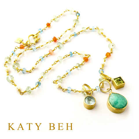 Custom Blue Topaz Chrysoprase Peridot Pendant 22k Gold Necklace Mother's Katy Beh Jewelry New Orleans