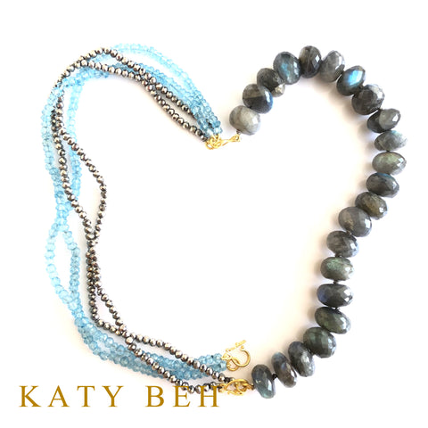 Custom Blue Topaz Labradorite Pyrite 22k Gold Necklace Bracelet Katy Beh Jewelry New Orleans