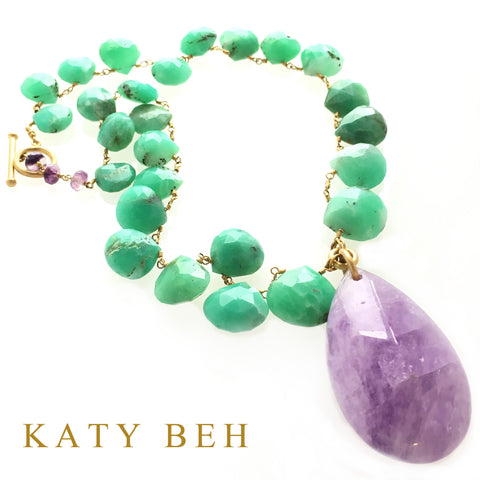Custom Chrysoprase Amethyst 22k Gold Necklace Katy Beh Jewelry New Orleans