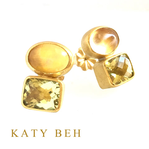 Custom Citrine Lemon Quartz 22k Gold Earrings Katy Beh Jewelry New Orleans