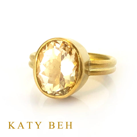 Custom Citrine Ring 22k Gold Katy Beh Jewelry New Orleans