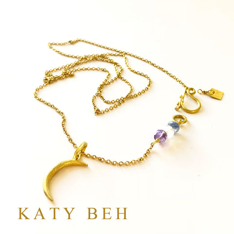 Custom Crescent Moon Pendant on Gem Detail 22k Gold Chain Katy Beh Jewelry New Orleans
