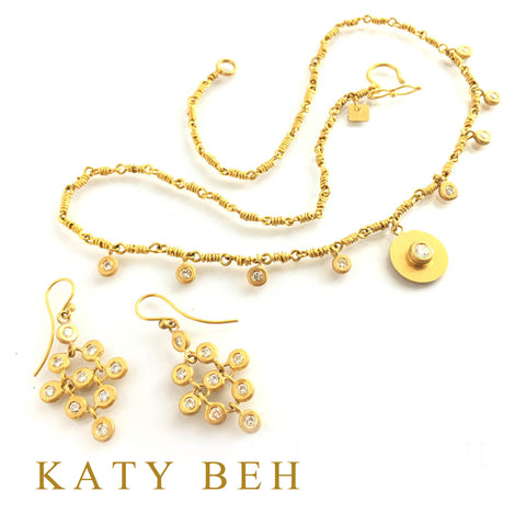Custom Diamond Earrings Diamond Necklace 22k Gold Katy Beh Jewelry New Orleans