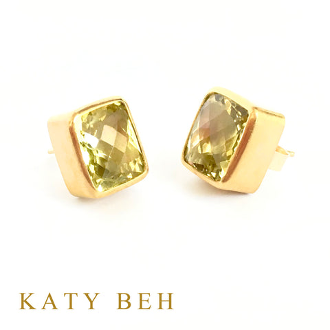 Custom Lemon Quartz 22k Gold Earrings Katy Beh Jewelry New Orleans