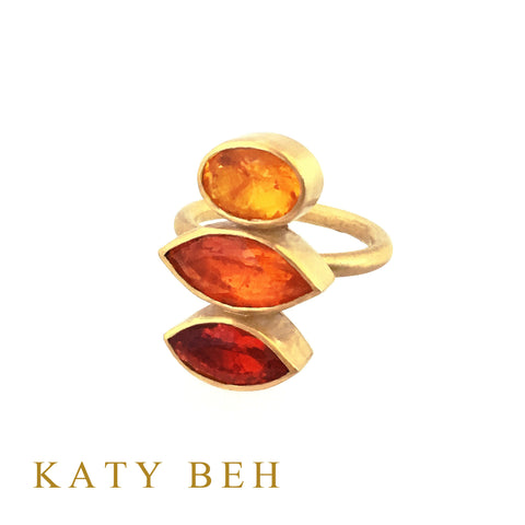 Custom Mexican Fire Opal Ring 22k Gold Katy Beh Jewelry New Orleans