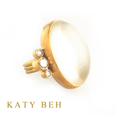 Custom Moonstone Diamond 22k Gold Ring Katy Beh Jewelry New Orleans