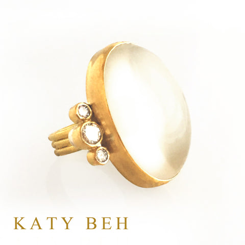 Custom Moonstone Diamond Ring 22k Gold Katy Beh Jewelry New Orleans