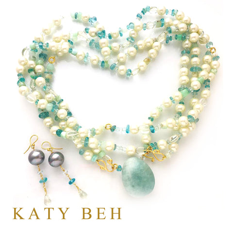 Custom Pearl Aquamarine Multi Gemstone Necklace Earrings 22k Gold Katy Beh Jewelry New Orleans