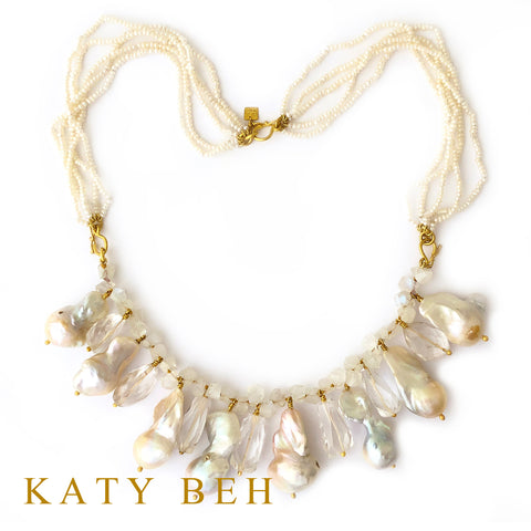 Custom Pearl Moonstone Topaz 22k Necklace Bracelet Katy Beh Jewelry New Orleans