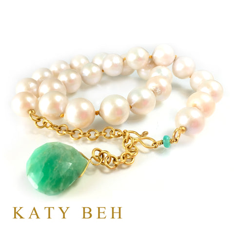 Custom Pearl and Chrysoprase 22k Gold Necklace Katy Beh Jewelry New Orleans