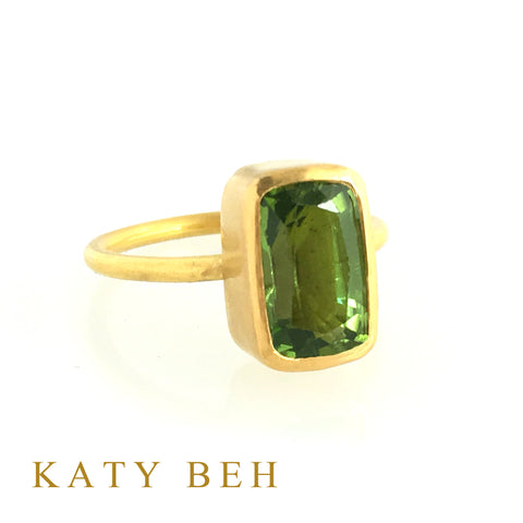 Custom Peridot 22k Gold Ring Katy Beh Jewelry New Orleans