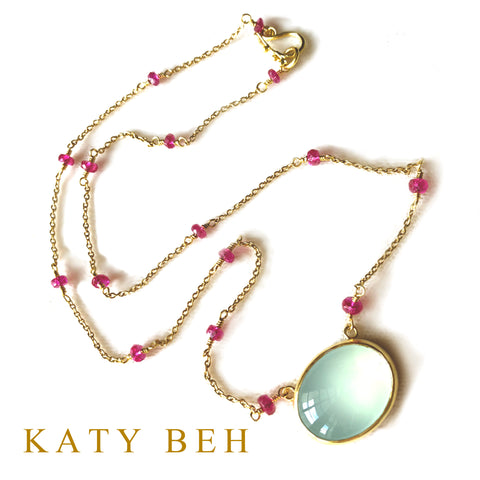 Custom Peruvian Chalcedony Ruby Necklace 22k Gold Katy Beh Jewelry New Orleans