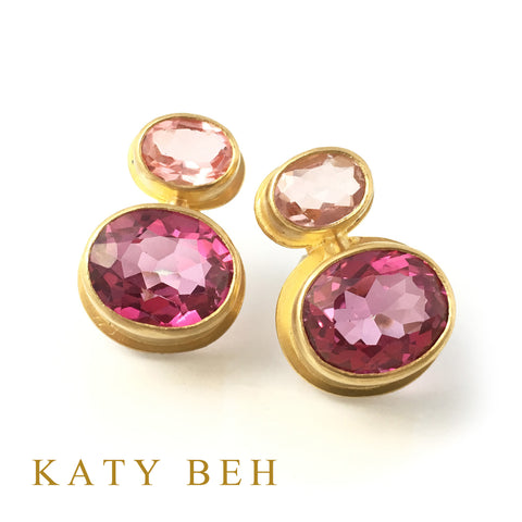 Custom Pink Topaz Morganite 22k Gold Earrings Katy Beh Jewelry New Orleans
