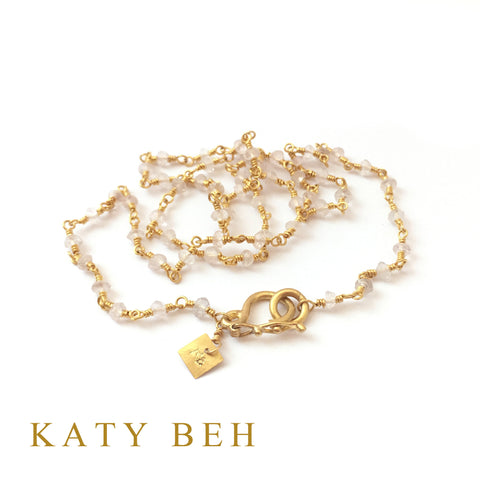 Custom Rose Quartz 22k Gold Necklace Katy Beh Jewelry New Orleans