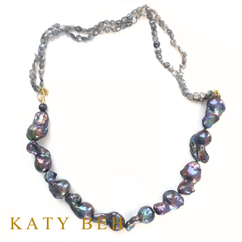 Custom SS Pearl Labradorite 22k Gold Necklace Bracelet Katy Beh Jewelry New Orleans