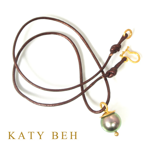 Custom Tahitian SS Pearl Pendant 22k Gold Katy Beh Jewelry New Orleans