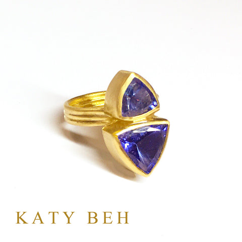 Custom Tanzanite 22k Gold Ring Katy Beh Jewelry New Orleans