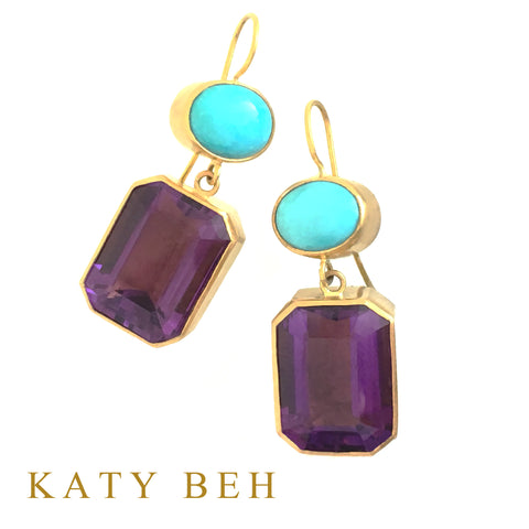Custom Turquoise Amethyst 22k Gold Earrings Katy Beh Jewelry New Orleans