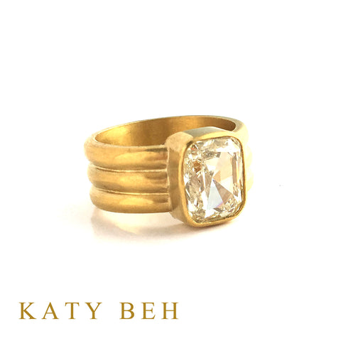 Custom Cushion Champagne Diamond Engagement Ring 22k Gold Katy Beh Jewelry New Orleans