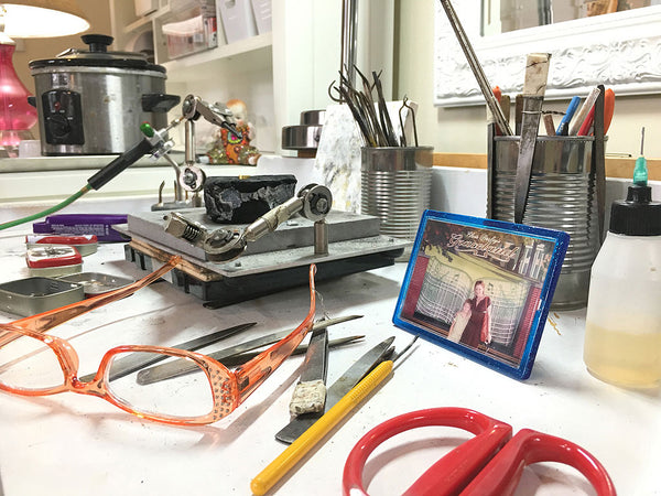 Soldering set up of New Orleans jewelry designer Katy Beh