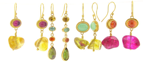 Katy Beh 22k Gold Colorful Gemstone Earrings