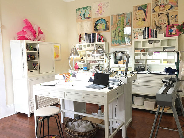 Martha Stewart Craft furniture in New Orleans jewelry designer Katy Beh's studio