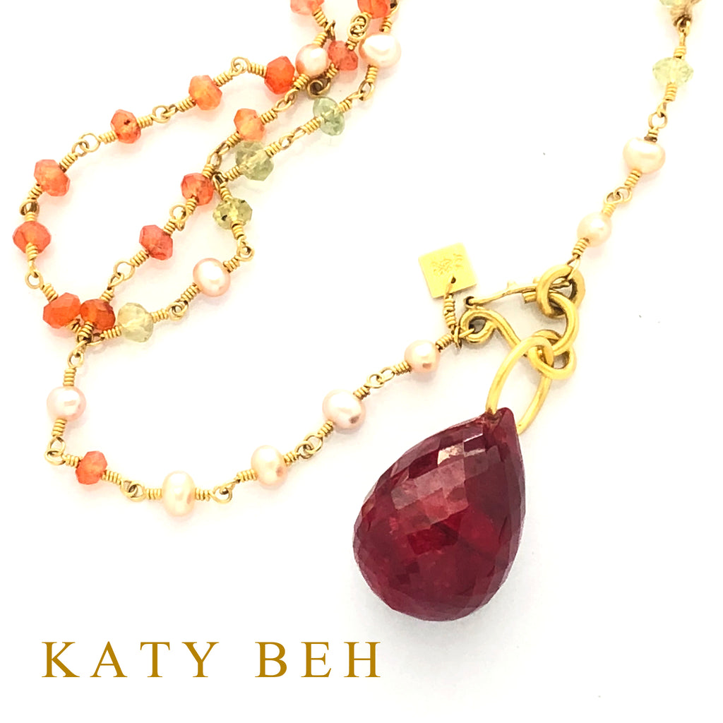 Wren Ruby Pendant 22k Katy Beh Jewelry New Orleans