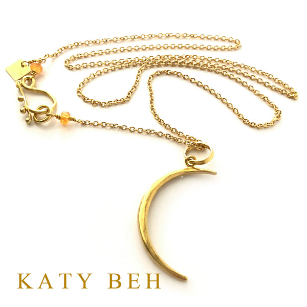 22k Crescent City Moon on Baby Chain with Yellow Sapphires