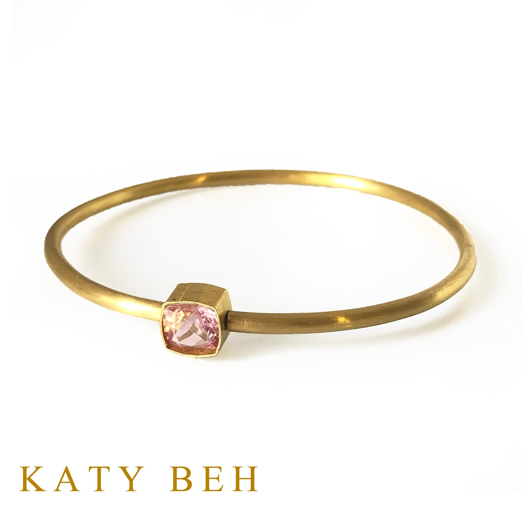 Ada 22k Gold and Pink Tourmaline Round Bangle Bracelet
