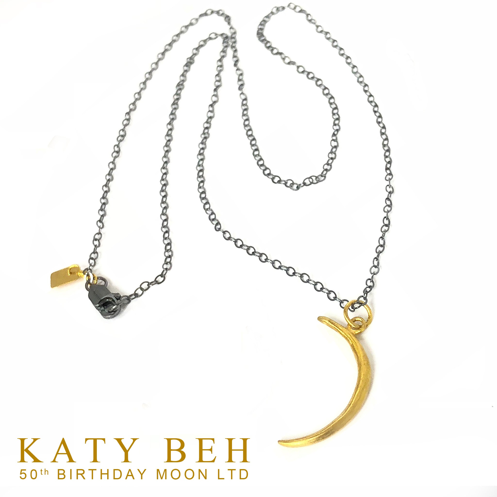 22k Crescent Moon on Blackened Silver | Katy's 50th Birthday | Limited Edition