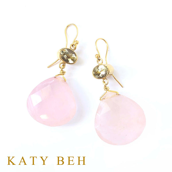 Amelie Lemon and Rose Quartz Earrings