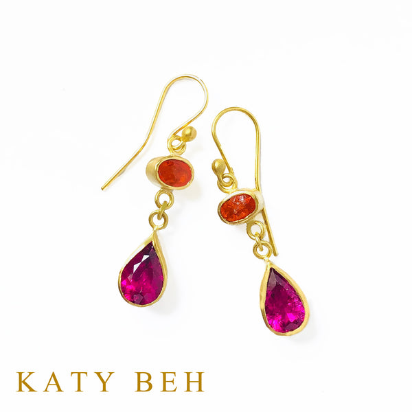 Anna Mexican Fire Opal and Rubellite Earrings