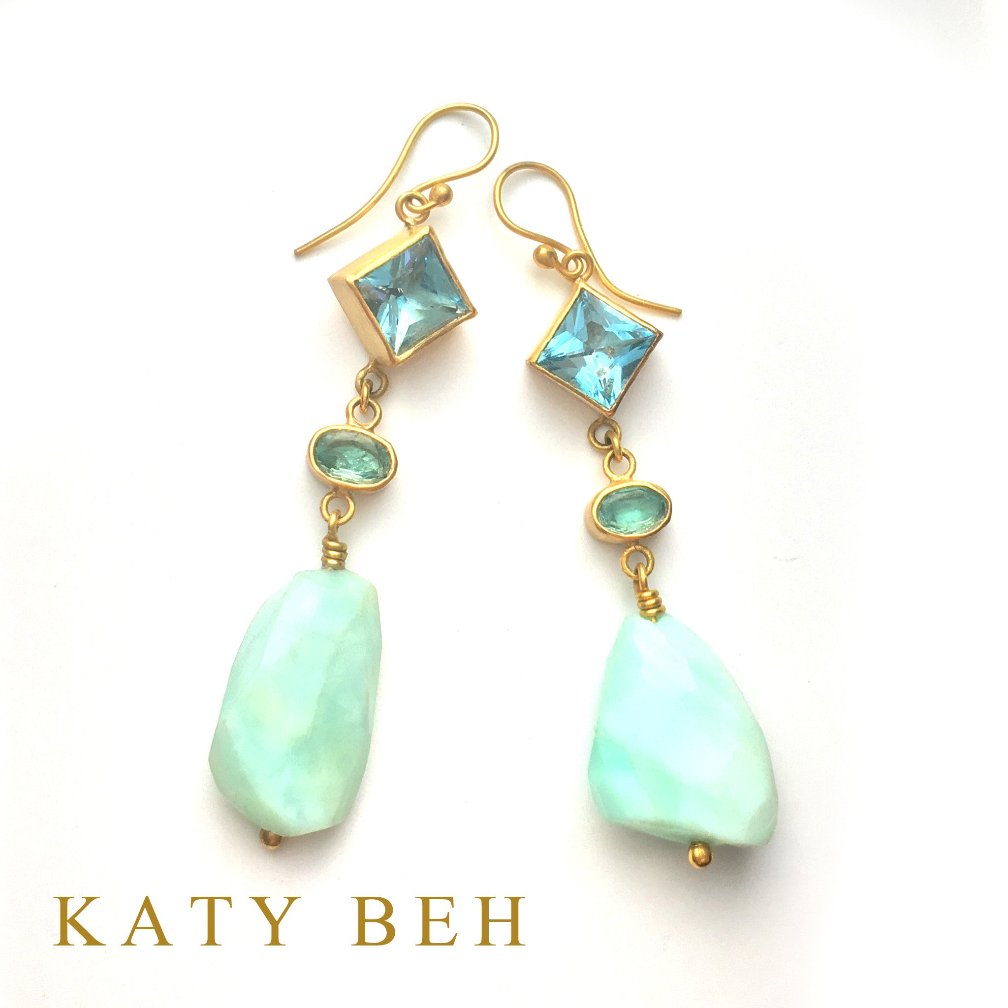 Arianne Blue Topaz, Apatite & Peruvian Opal Earrings