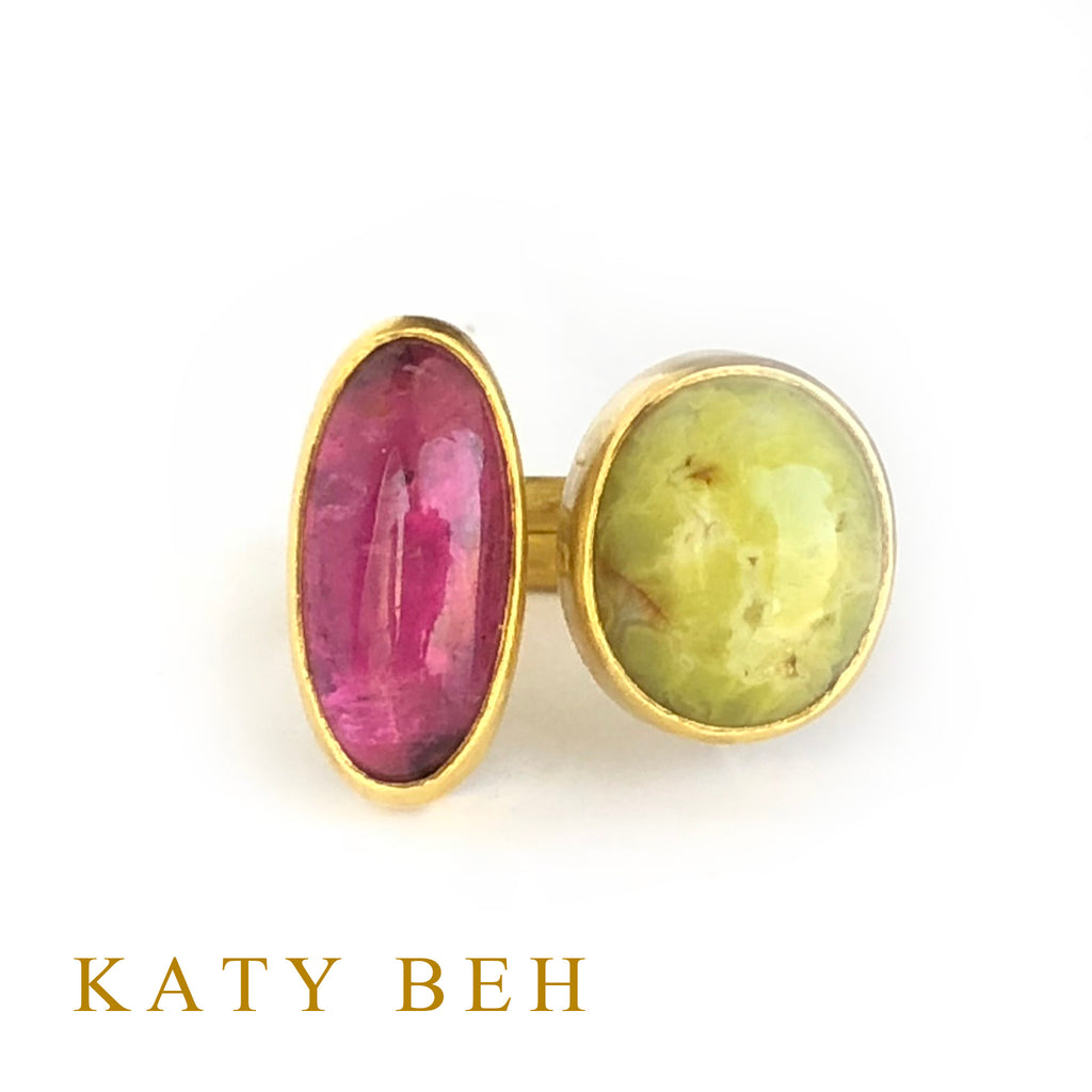 Becca Rubellite and Green Opal Ring