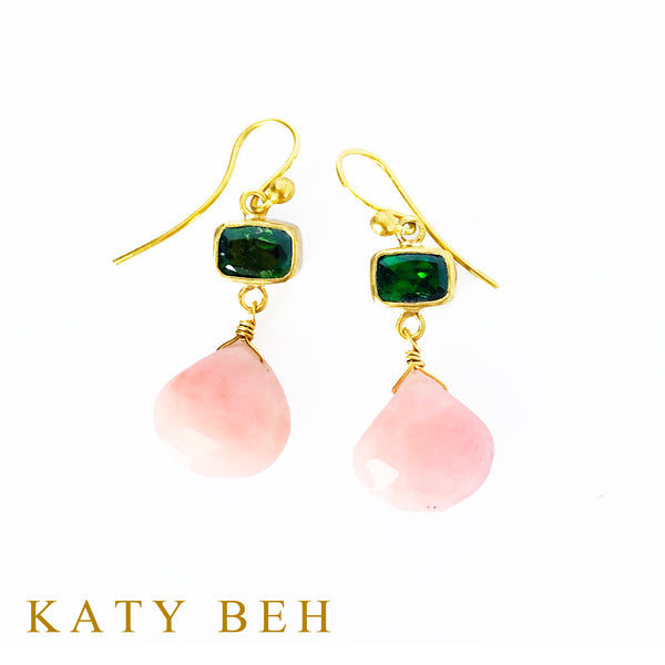 Britton Chrome Diopside and Pink Opal Earrings