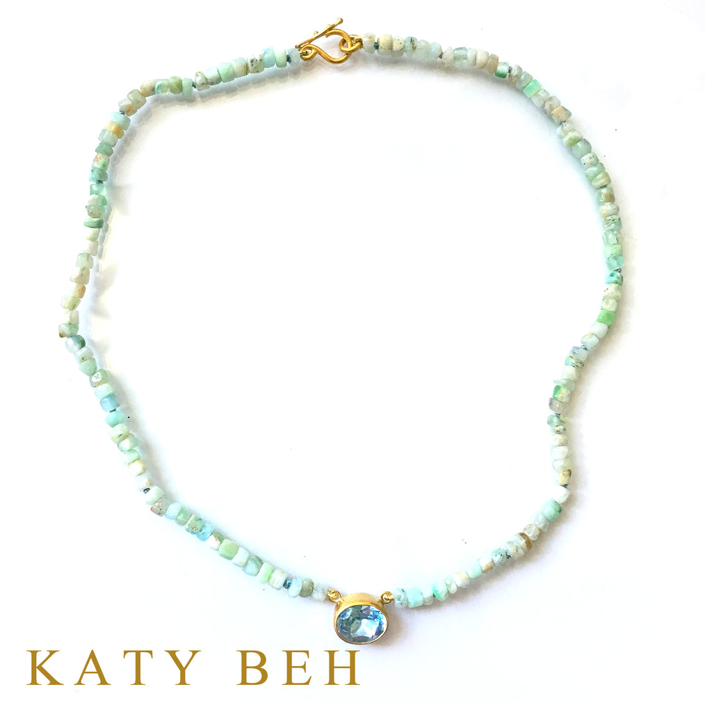 Bunny Blue Topaz & Peruvian Opal Necklace