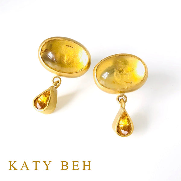 Chloe Citrine and Yellow Sapphire Earrings