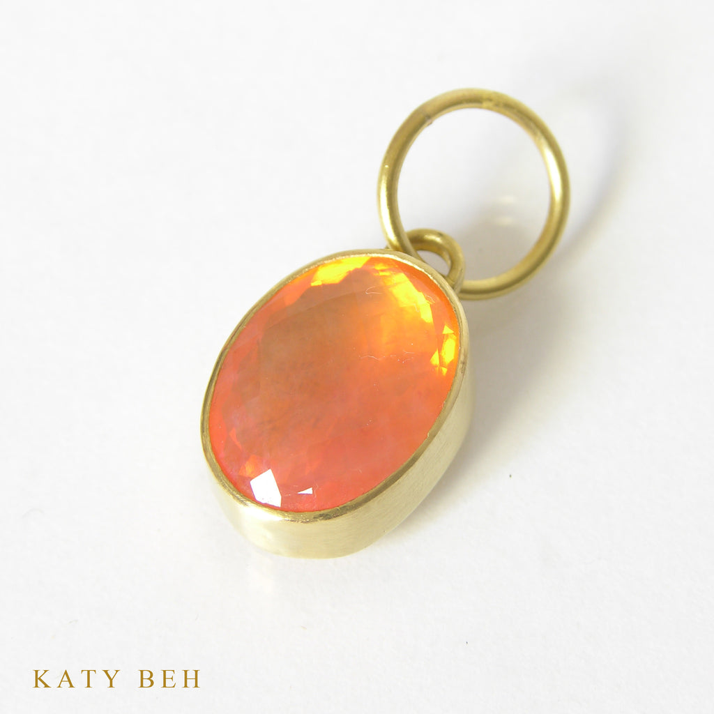 Mexican fire opal pendant 22k gold gemstone handmade jewelry pendant katy beh 22k gold handmade jewelry new orleans aloadofball Gallery