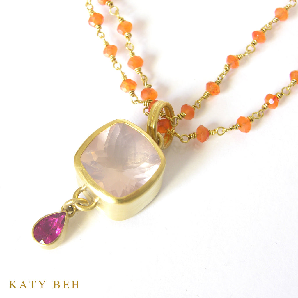 Rose Quartz and Pink Tourmaline Pendant - Katy Beh Jewelry - 3