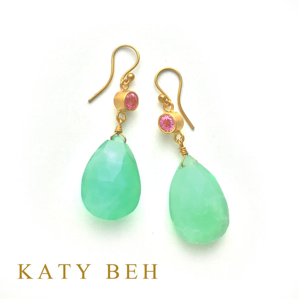 Dahlia Pink Sapphire & Chrysoprase Earrings