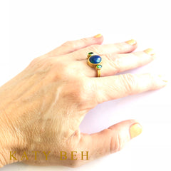 Danielle Blue Opal and Chrome Diopside Ring