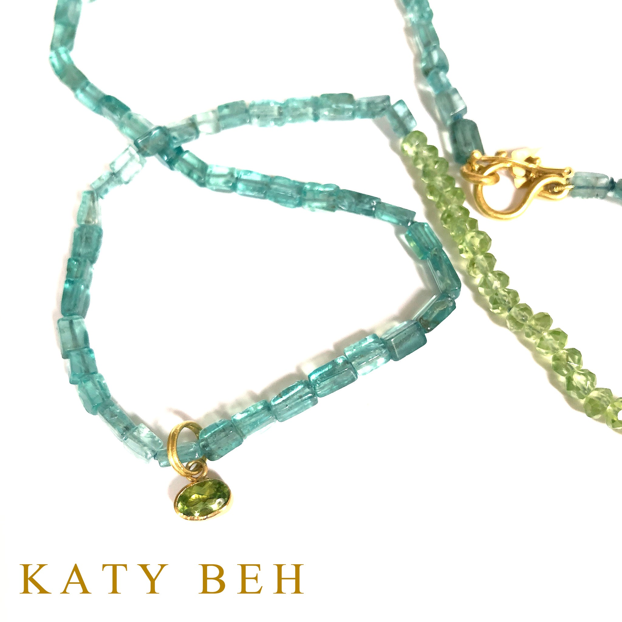 Delta Apatite and Peridot Necklace Only