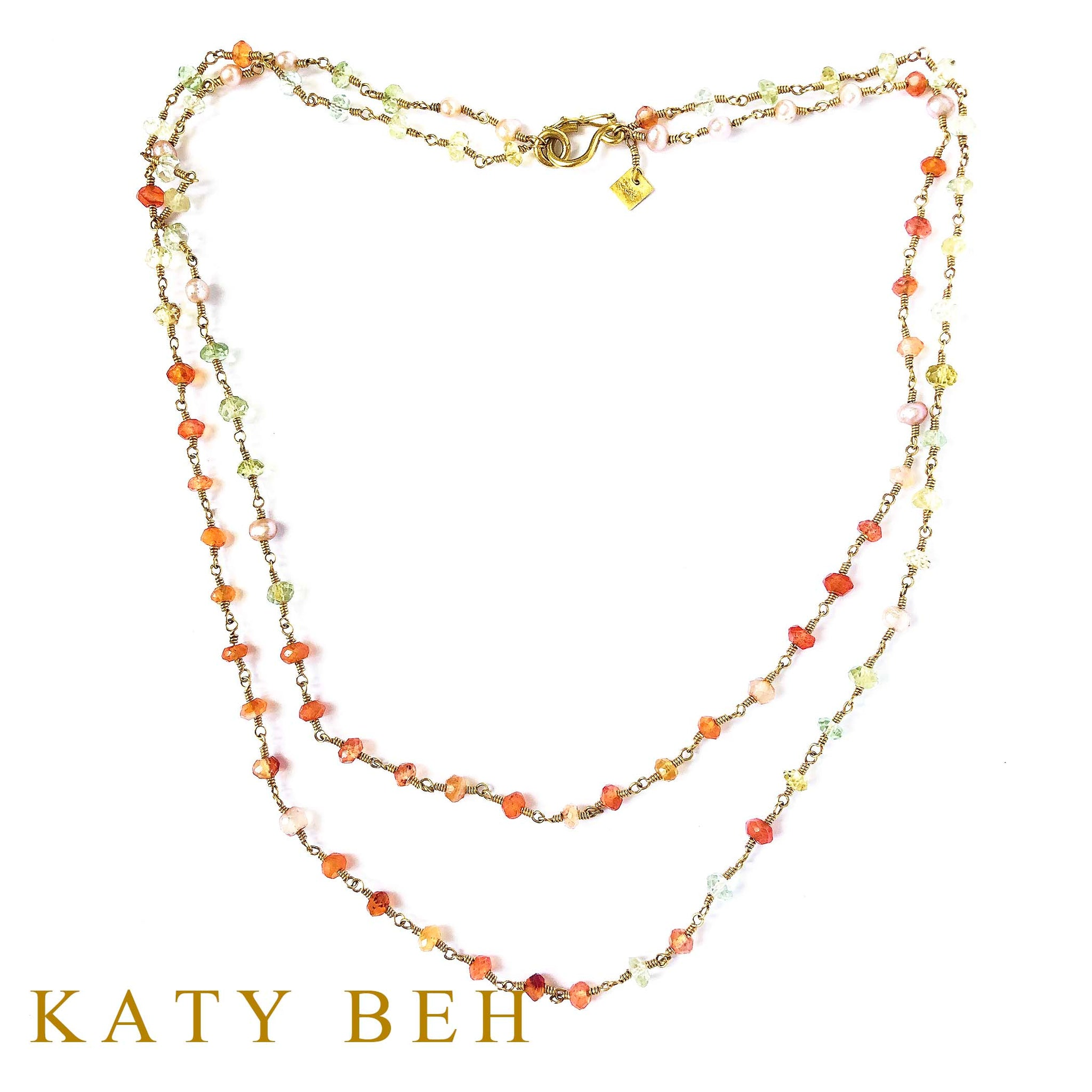 Erykah Carnelian, Beryl and Pearl Necklace