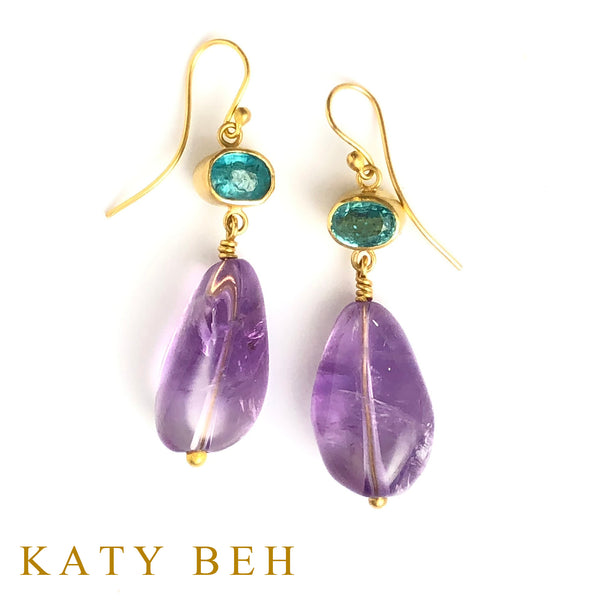 Fabi Apatite and Amethyst Earrings