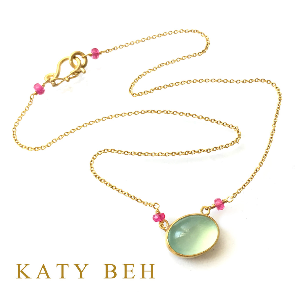Gigi Peruvian Chalcedony & Ruby Necklace