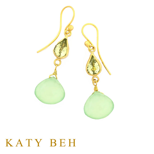 Gladys Chrysoberyl and Prehnite Earrings